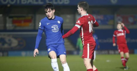 Valentino Livramento tackles for the ball Chelsea Under-23s v Liverpool Under-23s February 2021