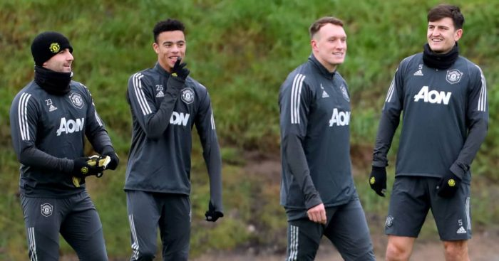 Luke Shaw, Mason Greenwood, Phil Jones and Harry Maguire in Man Utd training, 2019,