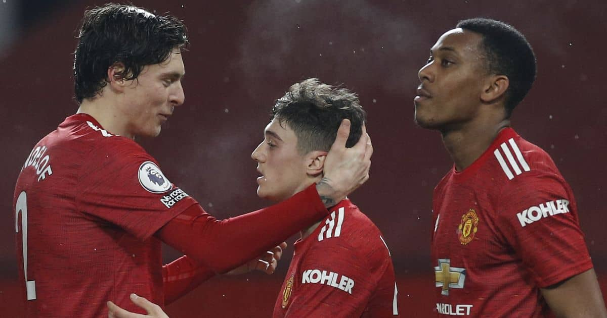 Victor Lindelof, Daniel James, Anthony Martial, Manchester United