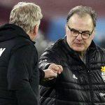 David Moyes embracing Marcelo Bielsa, West Ham v Leeds