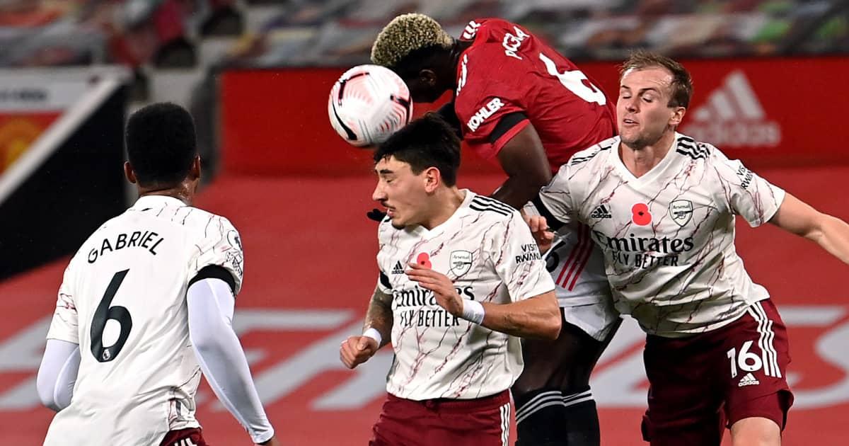 Hector Bellerin challenging Paul Pogba, Arsenal v Man Utd, 2020