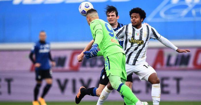 Pierluigi Gollini, Marten de Roon, Weston McKennie Atalanta v Juventus April 2021