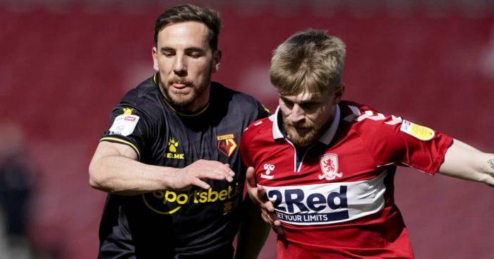 Dan Gosling tussling with Hayden Coulson, Watford v Middlesbrough, 2021