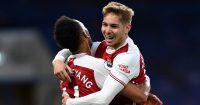 Pierre-Emerick Aubameyang hugging Emile Smith Rowe, Arsenal, 2021