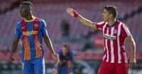 Ilaix Moriba and Luis Suarez, Barcelona v Atletico Madrid, 2021