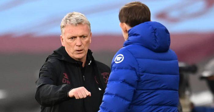 David Moyes embracing Thomas Tuchel, West Ham v Chelsea, 2021
