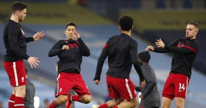 Jordan Henderson, Roberto Firmino, Andy Robertson Man City v Liverpool November 2020