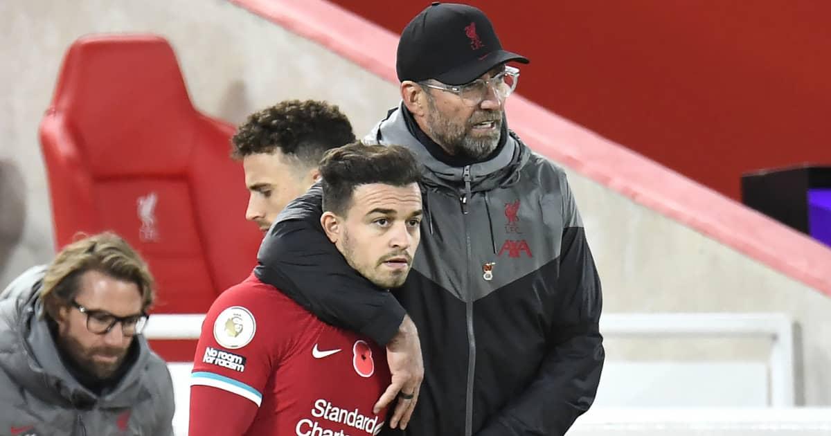 Jurgen Klopp embracing Xherdan Shaqiri, Liverpool, 2020