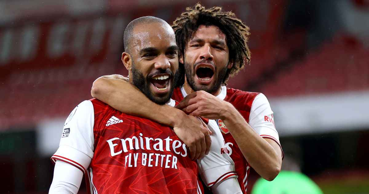 Alexandre Lacazette celebrates Arsenal goal with Mohamed Elneny, TEAMtalk