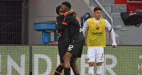 Leon Bailey celebrates Bayer Leverkusen v Eintracht Frankfurt April 2021