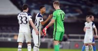 Joe Hart, Dane Scarlett, Ben Davies Tottenham v Wolfsberger February 2021