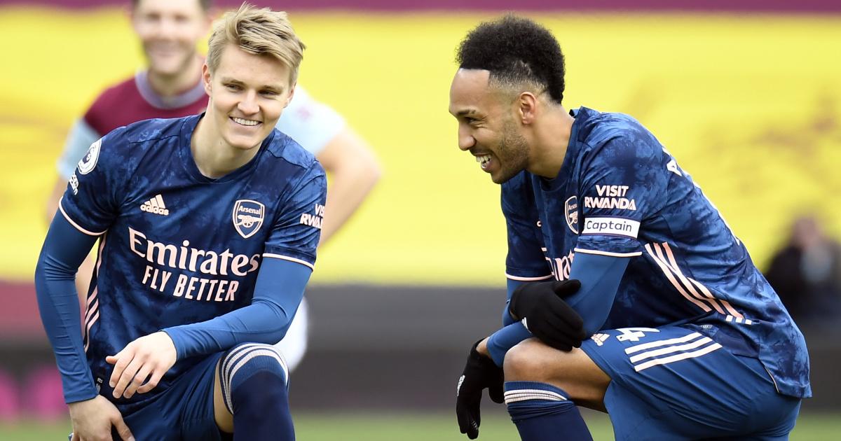 Martin Odegaard and Pierre-Emerick Aubameyang, Arsenal, 2021