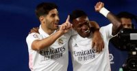 Marco Asensio celebrating with Vinicius Jr., Real Madrid, 2021