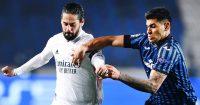 Nacho tussling with Cristian Romero, Real Madrid v Atalanta