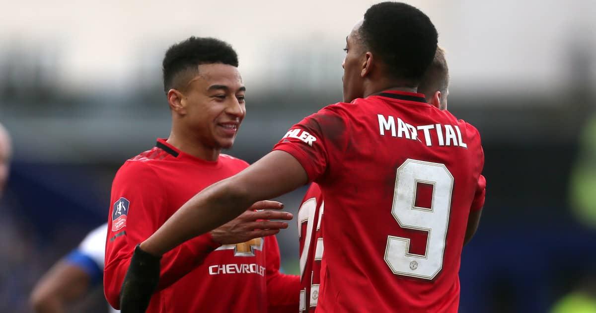 Jesse Lingard celebrating with Anthony Martial, Man Utd, 2020