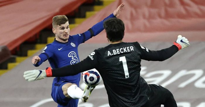 Timo Werner and Alisson Becker, Chelsea v Liverpool, 2021