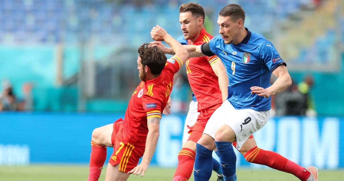 Aaron Ramsey, Andrea Belotti Italy v Wales July 2021