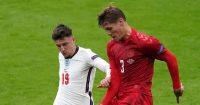 Mason Mount and Jannik Vestergaard battle for possession in England v Denmark at Euro 2020