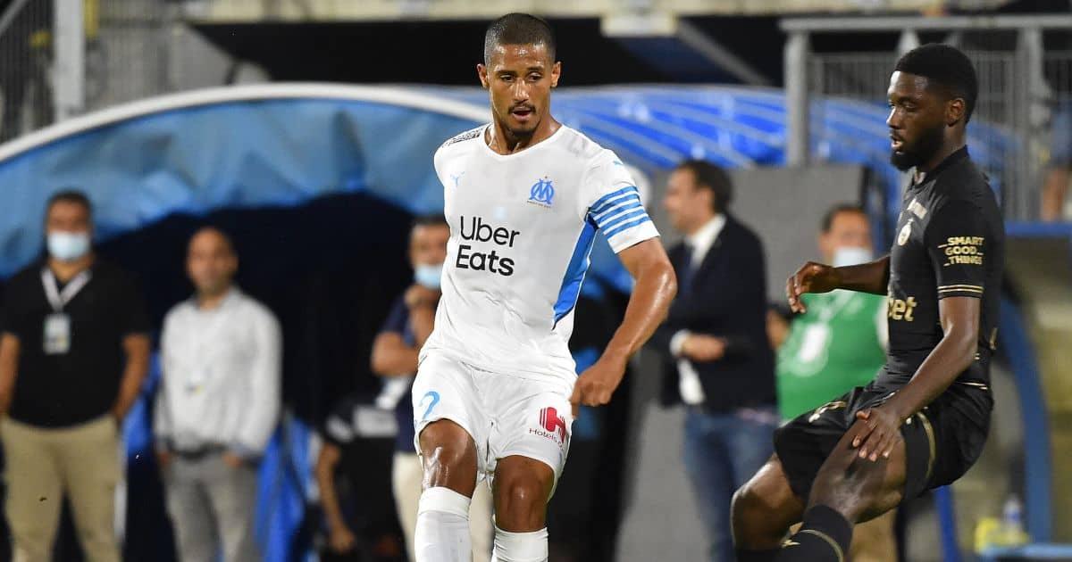 William-Saliba-Marseilles-passes ball against St Etienne July 2021