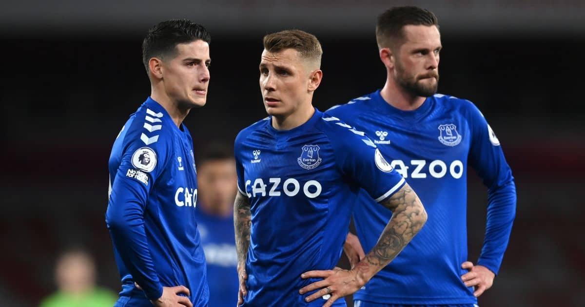 James Rodriguez, Lucas Digne, Gylfi Sigurdsson discuss for Everton