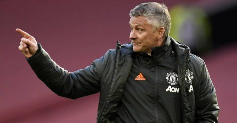 Man Utd boss Ole Gunnar Solskjaer angrily pointing at Old Trafford