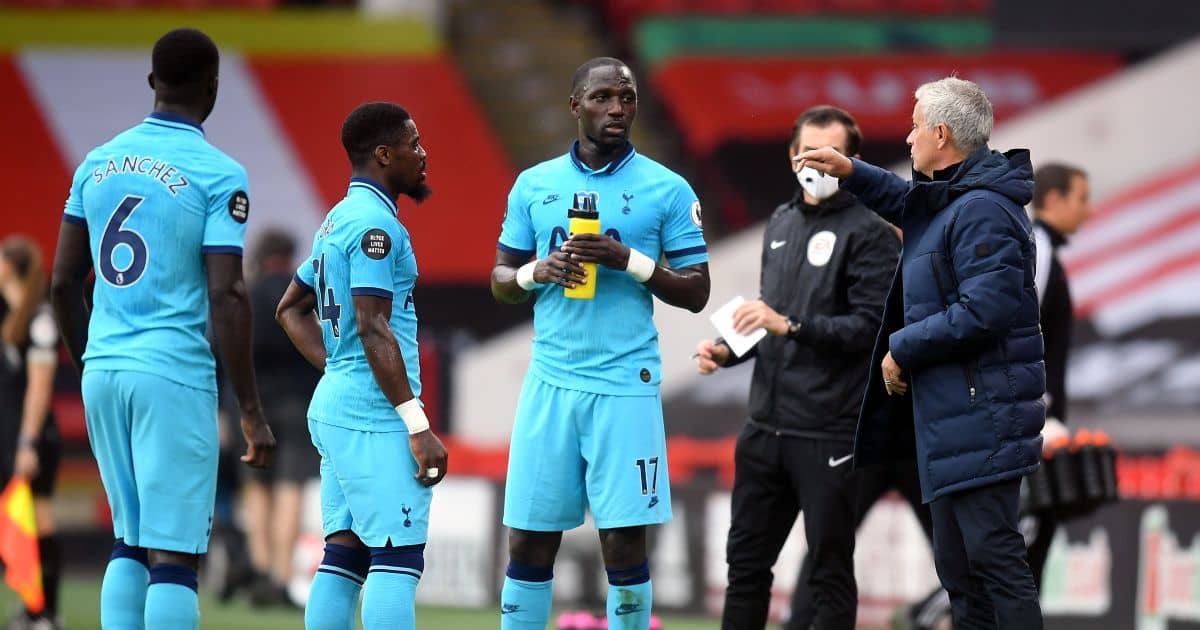 Jose Mourinho Davinson Sanhez Serhe Aurier Moussa Sissoko on pitch Bramall Lane July 2020