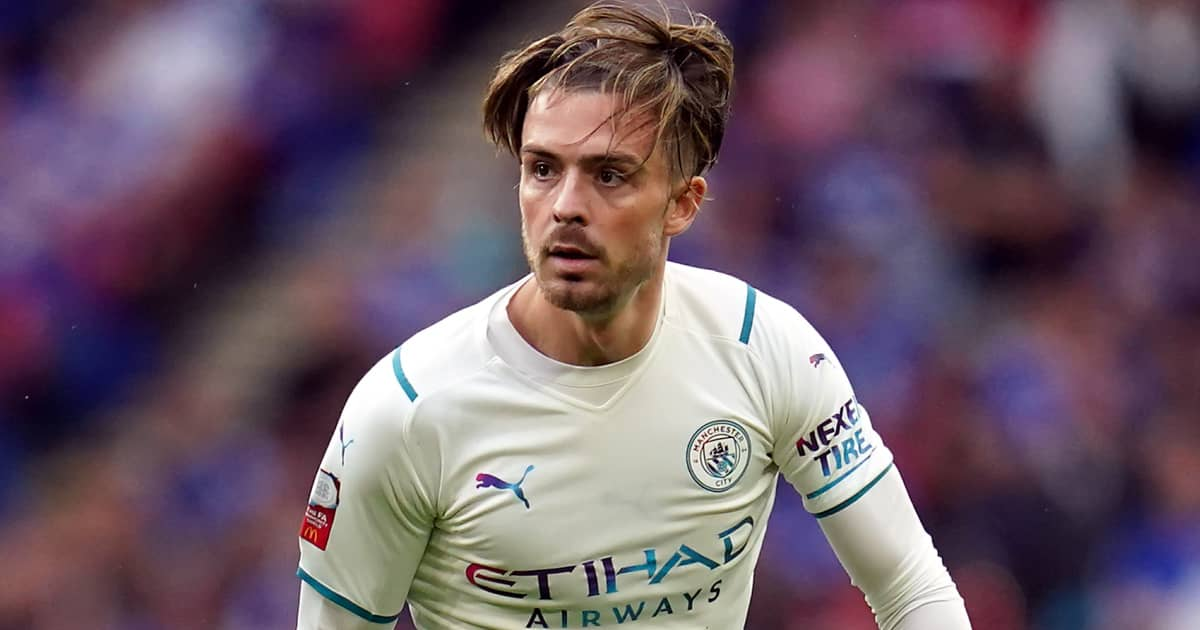 Jack Grealish during his Man City debut during the Community Shield