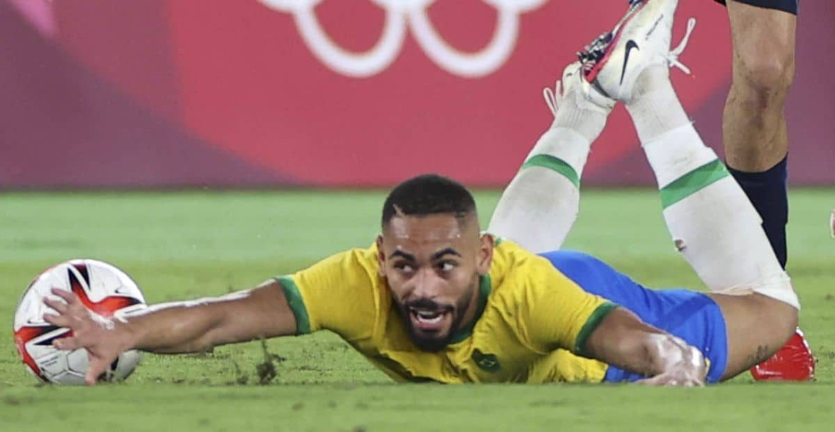 Matheus Cunha takes a tumble, Brazil, during Olympic gold medal match at Olympics v Spain in Yokohama