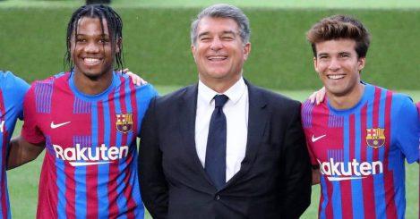 President Joan Laporta, Ansu Fati, Ricky Puig, Barcelona kit launch, 2021,22 season, Nou Camp