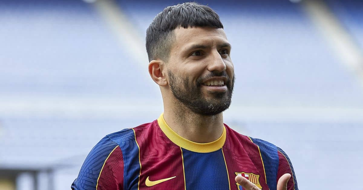 Sergio Aguero signs for Barcelona, transfer unveiling at the Nou Camp, May 2021, TEAMtalk