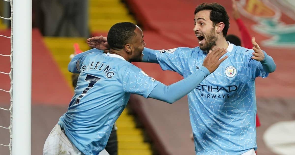Raheem Sterling and Bernardo Silva celebrate Man City goal at Liverpool