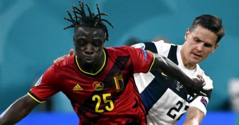 Jeremy Doku playing for Belgium v Finland at Euro 2020