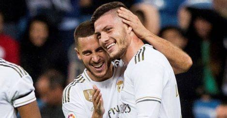 Luka Jovic, Eden Hazard after scoring the fifth goal during the Spanish LaLiga match between Real Madrid CF and CD Leganes, Bernabeu, TEAMtalk