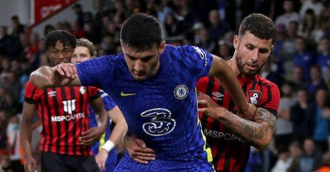 Armando Broja battles with Emiliano Marcondes in Bournemouth v Chelsea