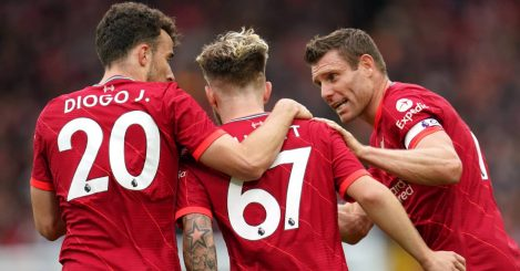 Liverpool stars Diogo Jota and James Milner guiding youngster Harvey Elliott during pre-season 2021