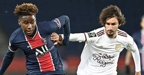 PSG's Timothy Pembele tussling with Bordeaux attacker Yacine Adli 2020