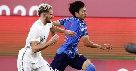 Gianni Stensness., Kaoru Mitoma Olympics soccer, New Zealand v Japan quarter-finals