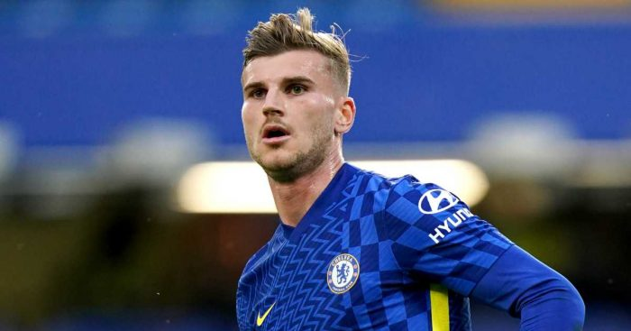 Timo Werner during friendly between Chelsea and Tottenham in August 2021
