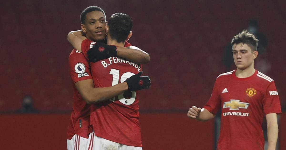 Anthony Martial Bruno Fernandes and Daniel James celebrate Man Utd goal February 2021