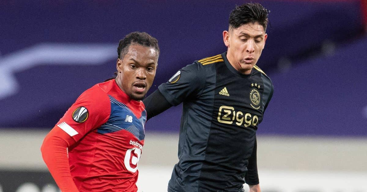Renato Sanches, Edson Alvarez, Lille v Ajax at the Pierre Mauroy Stadium