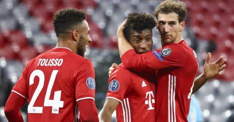 Bayern team-mates Corentino Tolisso Kingsley Coman and Leon Goretzka celebrating together