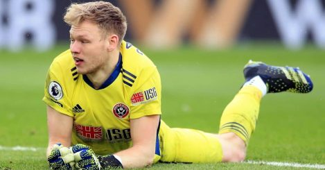 Sheffield United goalkeeper Aaron Ramsdale reacts after Leicester City's Ayoze Perez (not pictured) scores their side's second goal of the game during the Premier League match at King Power Stadium, Leicester