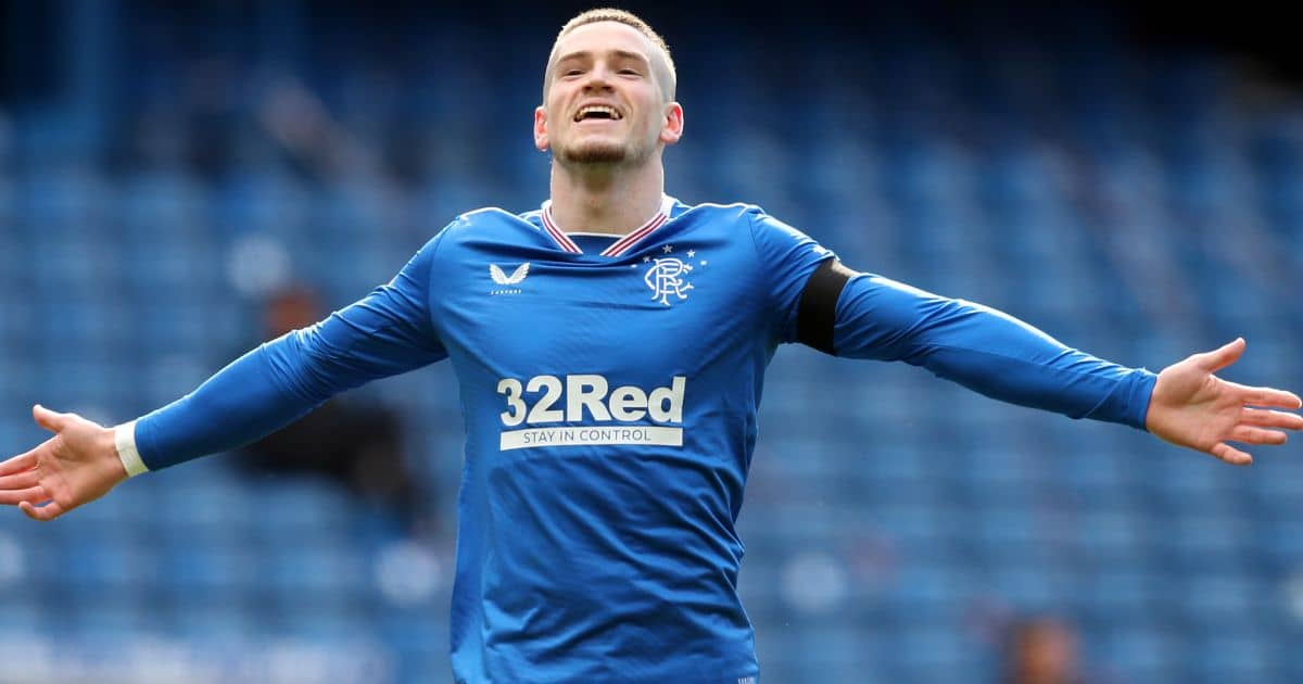 Rangers' Ryan Kent celebrates scoring their side's second goal of the game during the Scottish Premiership match at Ibrox