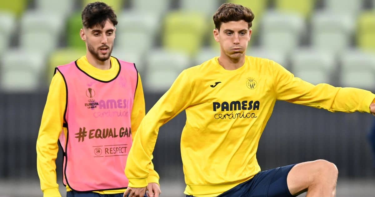 Villarreal's Fernando Nino and Pau Torres (right) during a training session before the UEFA Europa League final, at Gdansk Stadium, Poland