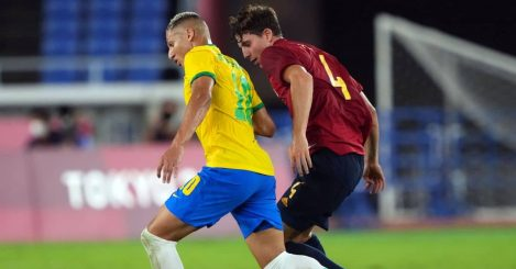 Pau Torres of Spain and Villarreal, Richarlison of Brazil and Everton