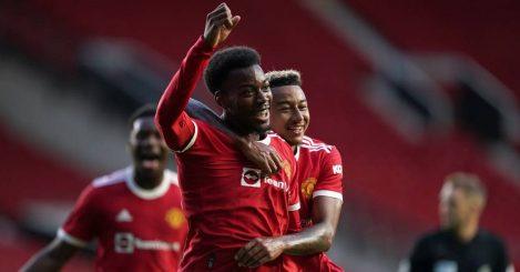 Anthony Elanga Jesse Lingard celebrate Man Utd goal July 2021