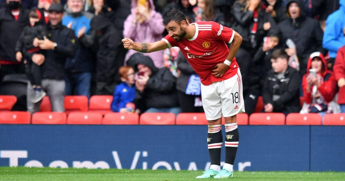 Man Utd midfielder Bruno Fernandes celebrates