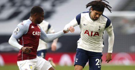 Kortney Hause of Aston Villa battles Tottenham's Dele Alli