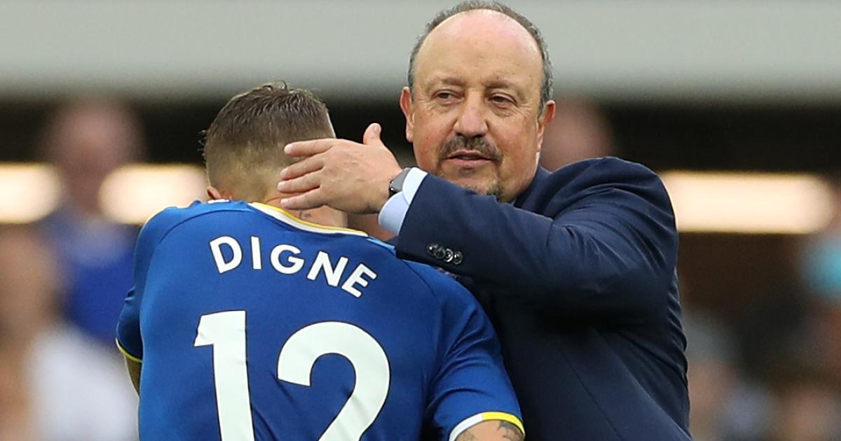 Rafa Benitez hugging Lucas Digne