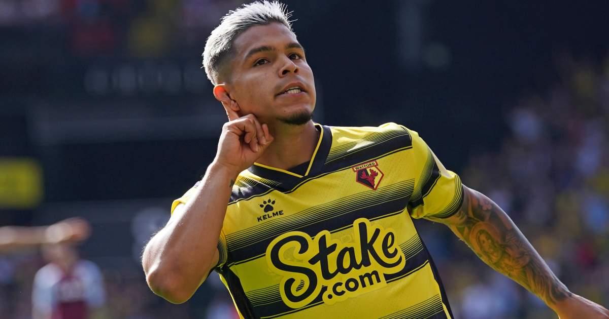 Watford's Cucho Hernandez celebrating his goal against Aston Villa